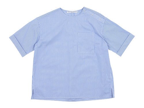 Charpentier de Vaisseau Sophie Shoulder Button Short Sleeve Shirts LIGHT BLUE STRIPE