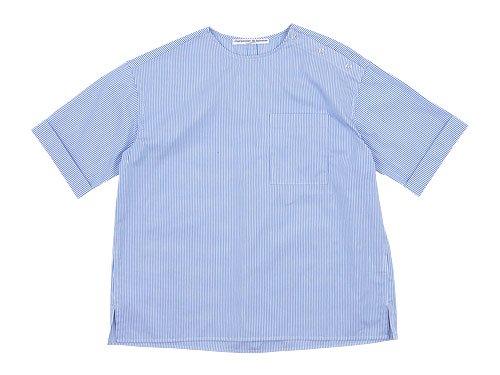 Charpentier de Vaisseau Sophie Shoulder Button Short Sleeve Shirts LIGHT BLUE STRIPE