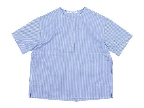 Charpentier de Vaisseau Selma Front Button Short Sleeve Shirts LIGHT BLUE STRIPE