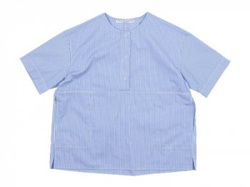 Charpentier de Vaisseau Selma Front Button Short Sleeve Shirts LIGHT BLUE STRIPE