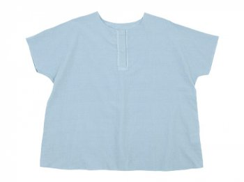 Lin francais d'antan Schiele Short Sleeve Blouse LIGHT BLUE