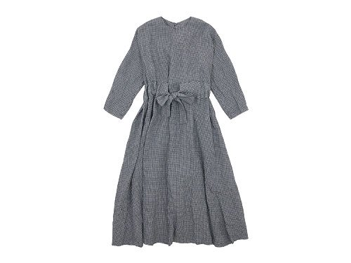 Lin francais d'antan Jodelle Ribbon Dress INDIGO CHECK