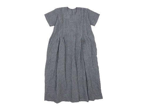 Lin francais d'antan Villon(ヴィヨン) Short Sleeve One-piece INDIGO CHECK