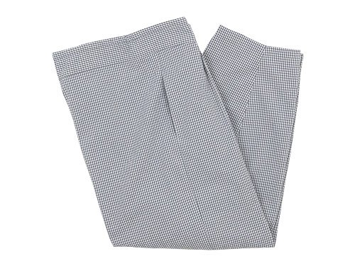 Lin francais d'antan Barouh Easy Pants WHITE x GRAY CHECK