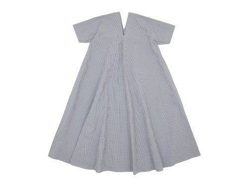 Lin francais d'antan Varda tent dress WHITE x GRAY CHECK