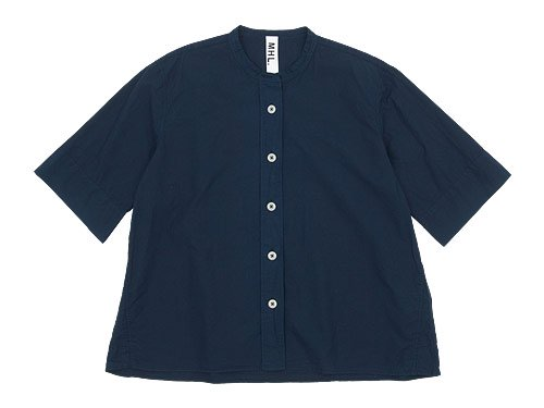 MHL. COTTON RAMIE POPLIN S/S SHIRTS 120NAVY 〔レディース〕