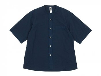MHL. COTTON RAMIE POPLIN S/S SHIRTS 120NAVY 〔メンズ〕
