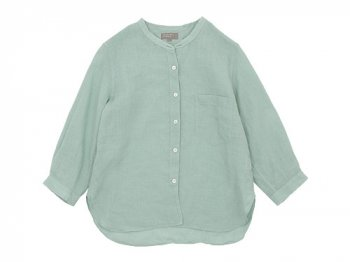 MARGARET HOWELL FINE LINEN NO COLLAR SHIRTS 145MINT BLUE 〔レディース〕
