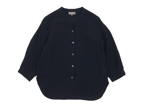 MARGARET HOWELL FINE LINEN NO COLLAR SHIRTS 120DARK NAVY 〔レディース〕