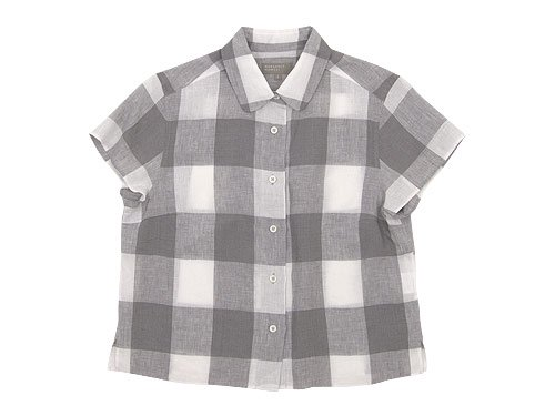 MARGARET HOWELL LARGE CHECK LINEN S/S SHIRTS 020GRAY 〔レディース〕