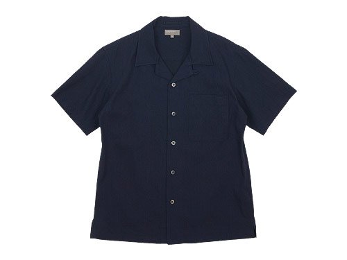 MARGARET HOWELL INDIGO COTTON LINEN OPEN SHIRTS 120INDIGO〔メンズ〕