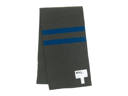 MHL. LAMBSWOOL ODD STRIPE FELTED SCARF 180OLIVE