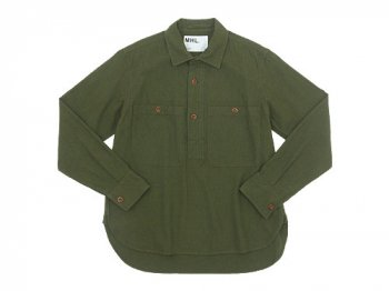 MHL. JAPANESE WOOL SHIRTING OVERHEAD SHIRT 180OLIVE 〔メンズ〕