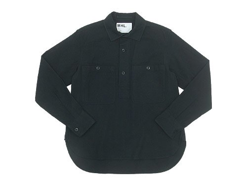 MHL. JAPANESE WOOL SHIRTING OVERHEAD SHIRT 010BLACK 〔メンズ〕
