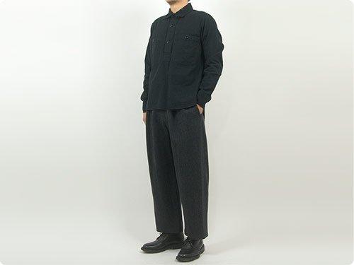 MHL. JAPANESE WOOL SHIRTING OVERHEAD SHIRT 010BLACK 〔メンズ〕