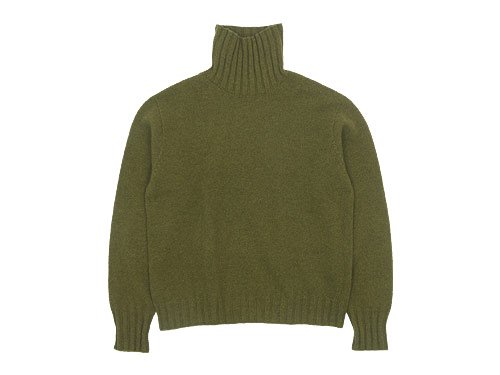 MARGARET HOWELL WOOL CASHMERE HIGH NECK KNIT 181OLIVE LEAF〔レディース〕
