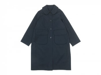 Lin francais d'antan Carra(カルラ) Round Collar Coat Cotton NAVY