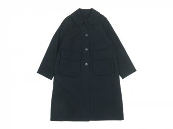 Lin francais d'antan Carra(カルラ) Round Collar Coat Cotton BLACK