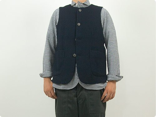 RINEN 2/48ウール綾織 ベスト 05NAVY 〔メンズ〕