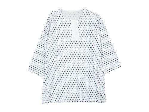 TOUJOURS Big Henley Neck Shirt WHITE BACK 【KM29BS01】