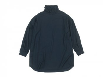 TOUJOURS High Neck Big Shirt NAVY 【KM29QS05】