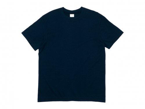 YAECA STOCK 丸胴シルクタッチ 半袖Tシャツ NAVY 〔メンズ〕