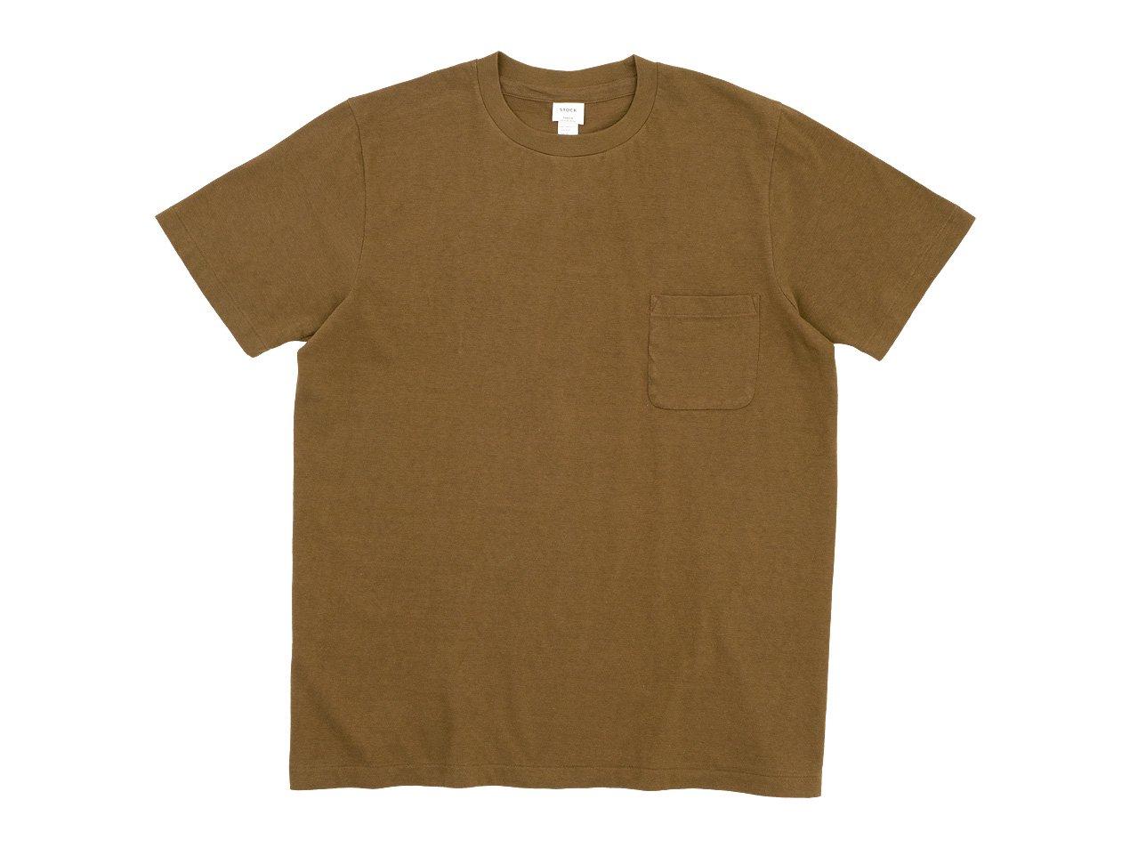 YAECA STOCK ポケットTシャツ BROWN 〔メンズ〕