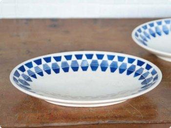 青い模様のオーバルプレート 01