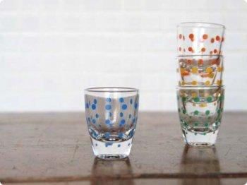水玉ショットグラス ブルー