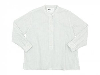 MHL. GRAPHIC COTTON STRIPE P/O SHIRTS 011WHITE 〔レディース〕