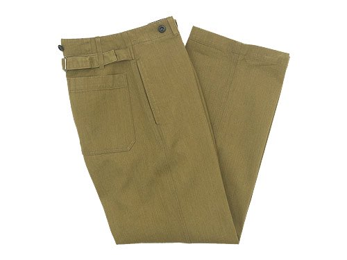 MHL. HEAVY COTTON DRILL CINCHED BACK TROUSER 180OLIVE KHAKI 〔レディース〕