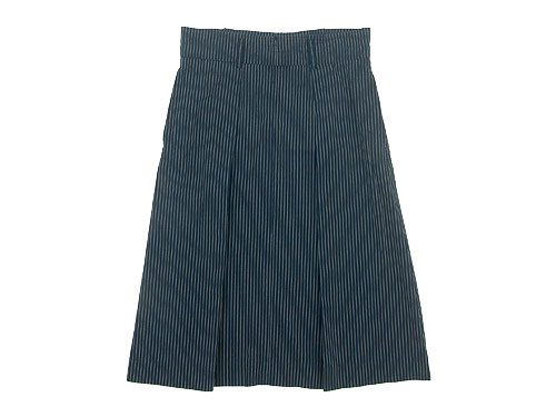 MHL. COTTON LINEN STRIPE TUCK SKIRT 121NAVY 〔レディース〕