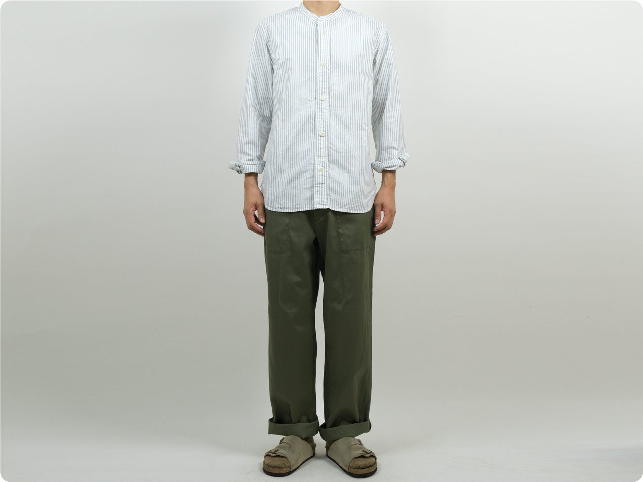 MHL. END ON END STRIPE COTTON NO COLLAR SHIRTS 033OFF WHITE 〔メンズ〕