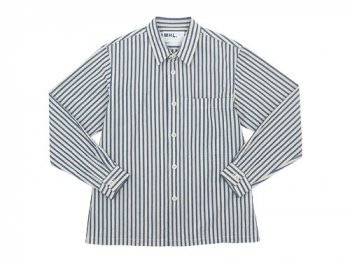 MHL. COTTON LINEN PJ STRIPE SHIRTS 120NAVY 〔メンズ〕