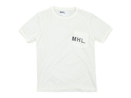 MHL. PRINTED JERSEY LOGO T 030WHITE〔メンズ〕