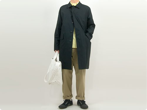 MARGARET HOWELL BARACUTA LIGHT COTTON POPLIN SOUTIEN COLLAR COAT 010BLACK 〔メンズ〕