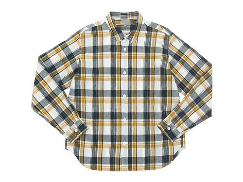 MARGARET HOWELL GRAPHIC LINEN CHECK SHIRTS 120NAVY 〔メンズ〕