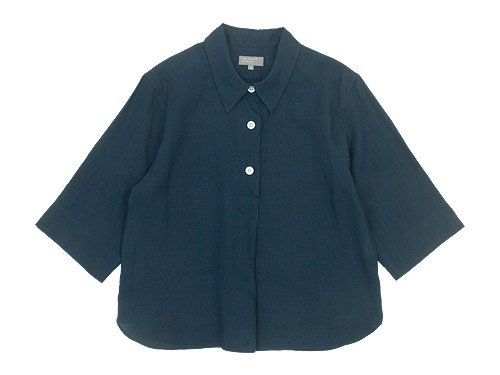 MARGARET HOWELL LINEN VOILE THREE BUTTON PULL ON SHIRTS 120DARK NAVY〔レディース〕