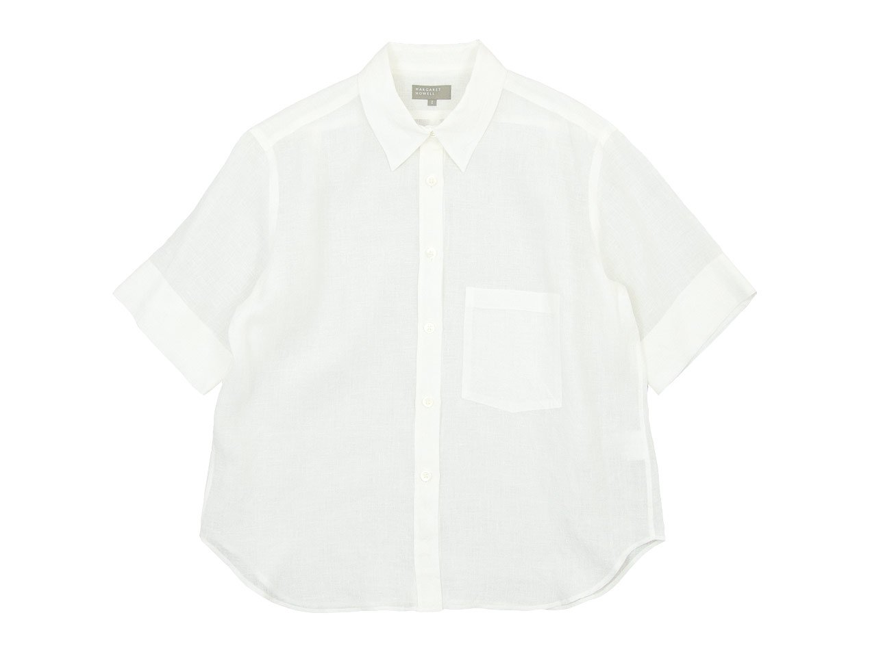 MARGARET HOWELL FINE LINEN S/S SHIRTS 030WHITE〔レディース〕