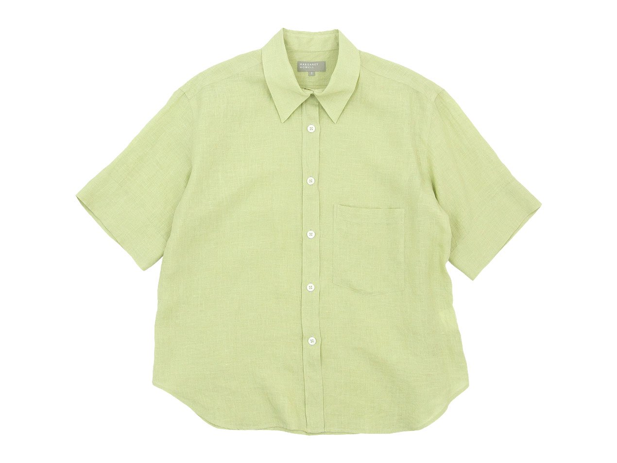 MARGARET HOWELL FINE LINEN S/S SHIRTS 142GREEN〔レディース〕