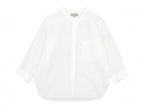 MARGARET HOWELL FINE LINEN NO COLLAR SHIRTS 030WHITE〔レディース〕
