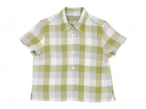 MARGARET HOWELL BLOCK CHECK LINEN S/S SHIRTS 146GREEN 〔レディース〕