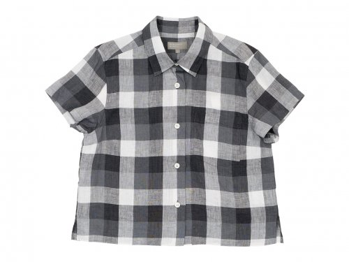MARGARET HOWELL BLOCK CHECK LINEN S/S SHIRTS 020GRAY 〔レディース〕
