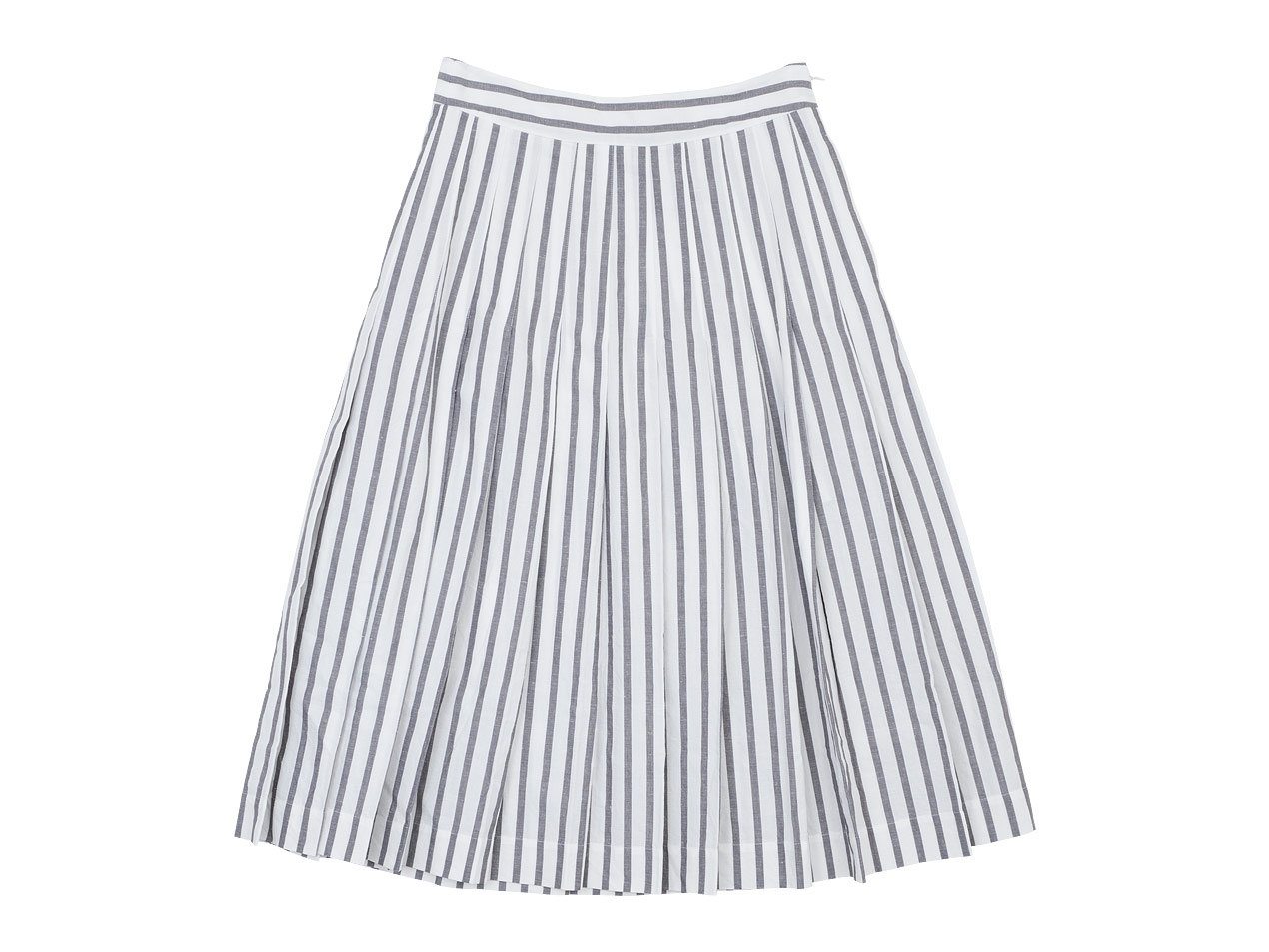 MARGARET HOWELL BOLD STRIPE COTTON LINEN SKIRT 022WHITE x GRAY 〔レディース〕