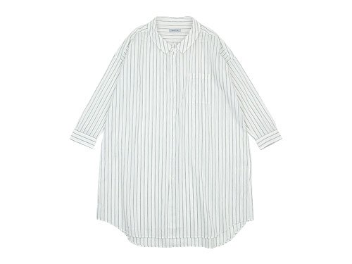 ordinary fits LONG BARBER SHIRT STRIPE BLACK