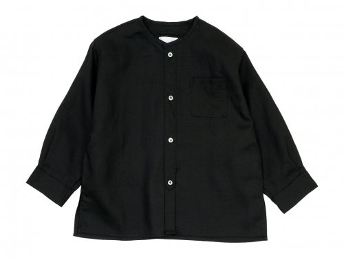 blanc no collar box shirts linen BLACK