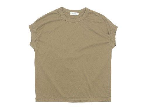 RINEN 60/2天竺 フレンチスリーブTシャツ 06ベージュ 〔レディース〕
