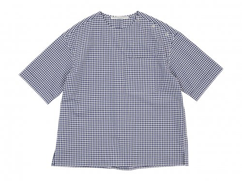 Charpentier de Vaisseau Sophie Shoulder Button Short Sleeve Shirts NAVY CHECK