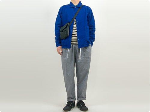 maillot cotton linen canvas snap deck jacket BLUE