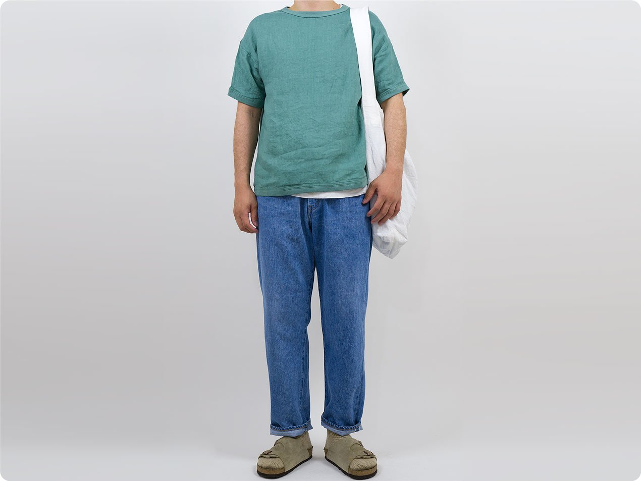 maillot linen shirts Tee SMOKE GREEN